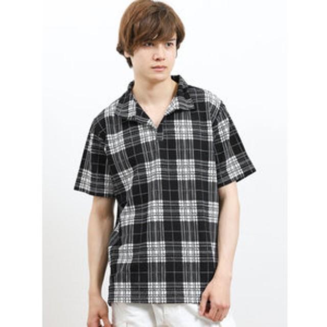【semantic design:トップス】グレンチェック スタンドカラー半袖ポロシャツ