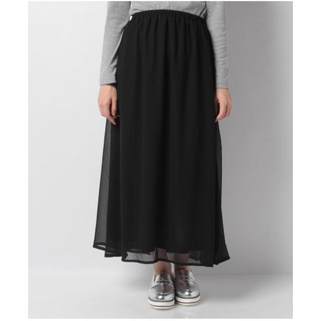koe ジョーゼットギャザーロングスカート(ブラック)【返品不可商品】