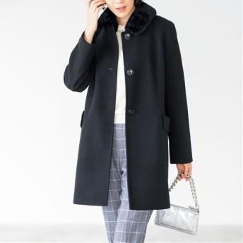 【レディース】 ウールライクファー衿コート ■カラー:ブラック ■サイズ:S,M,L,LL,3L