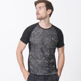 【エポカ ウォモ(EPOCA UOMO)】 【SPORTY LINE】カモフラクルーネックTシャツ 【SPORTY LINE】カモフラクルーネックTシャツ ブラック