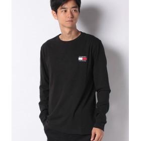 トミーヒルフィガー ロゴパッチロングTシャツ メンズ ブラック M 【TOMMY HILFIGER】