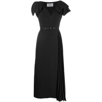 Prada ベルテッド プリーツドレス - ブラック
