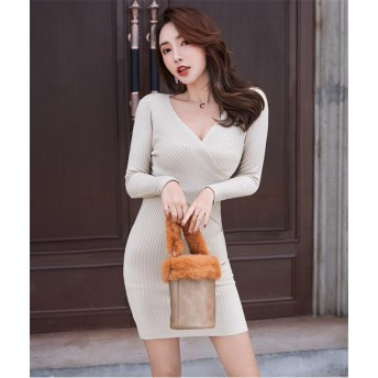 韓国ファッション 人気商品 秋冬 ニットセーター 女性 バッグヒップ ディープVネック ドレス