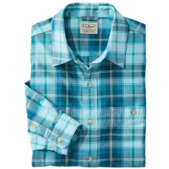 サンウォッシュ・キャンバス・シャツ、スライトリー・フィット 長袖 プラッド/Sunwashed Canvas Shirt, Slightly Fitted, Long-Sleeve Plaid