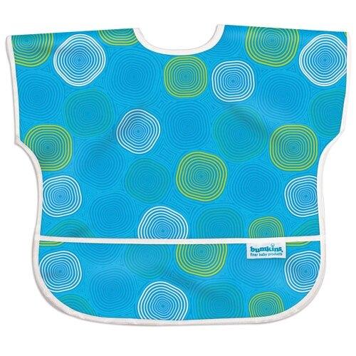 【淘氣寶寶】【美國Bumkins】兒童(1-3歲)短袖防水圍兜-藍水波紋 BKU-904【保證公司貨】