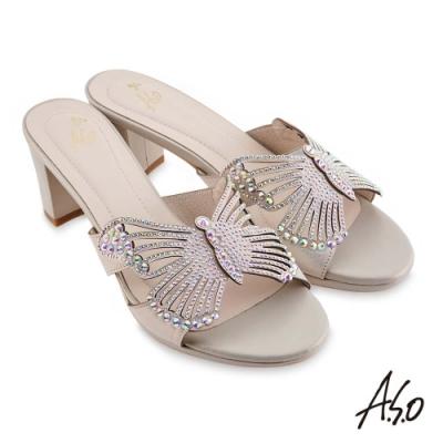 A.S.O 時尚流行 優雅時尚蝴蝶造型燙鑽涼拖鞋-銀