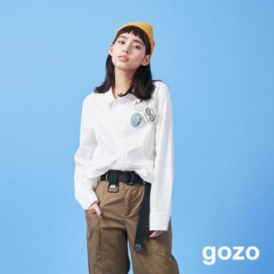 gozo 裝飾立體線條素面襯衫(二色)
