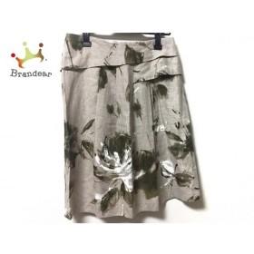 マックスマーラスタジオ スカート サイズ42 L レディース 美品 ライトブラウン×カーキ×白 新着 20190911