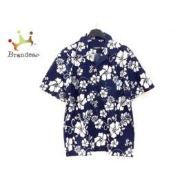 グリード GREED 半袖シャツ サイズM メンズ 美品 ネイビー×白 花柄 新着 20190911