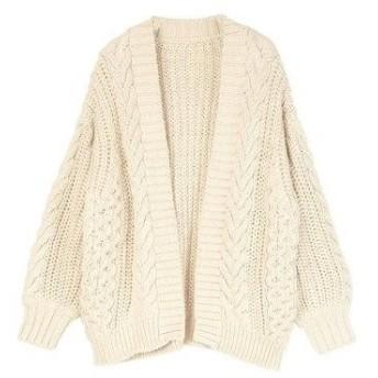 ティティベイト titivate ケーブル編みゆったりカーディガン (アイボリー)