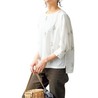 50%OFF【レディース】 刺繍使いプルオーバー - セシール ■カラー:オフホワイト ■サイズ:S