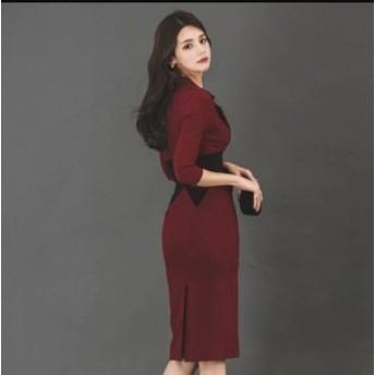 Vネック 韓国風 マキシワンピ 女性 ファッション タイトワンピース お洒落 レディース ワンピ 服 通勤 OL オフィス 可愛い ゆったり きれ