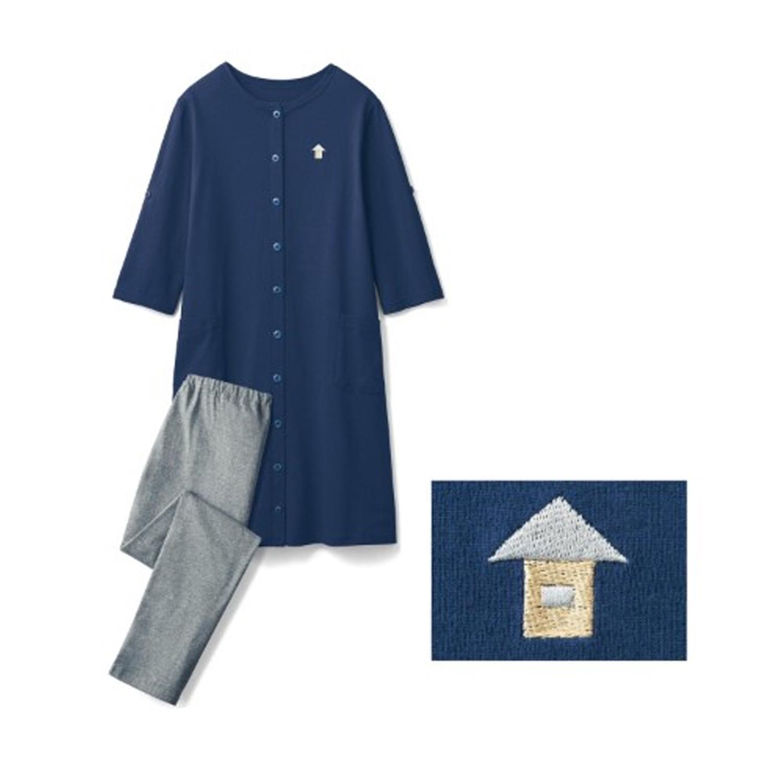 日本千趣會 - 純棉舒適七分袖孕婦/哺乳睡衣-深藍X小屋刺繡