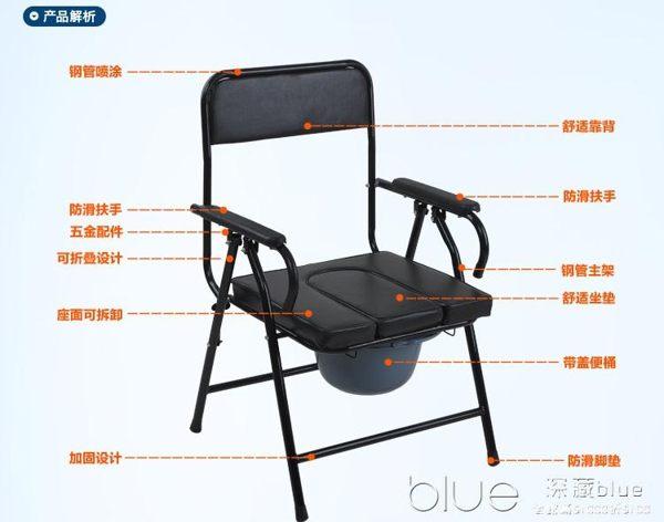 大華社加厚鋼管老人坐便椅可折疊座便器 移動馬桶老年座廁椅
