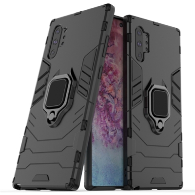 PKG 三星Note10 Plus (6.8吋) 支架保護殼(支援可搭配磁吸支架)-黑