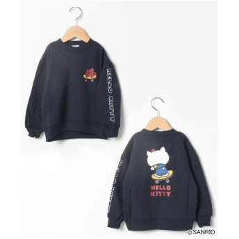 b-ROOM キティ スケボプリントドロップショルダートレーナー(紺)【返品不可商品】