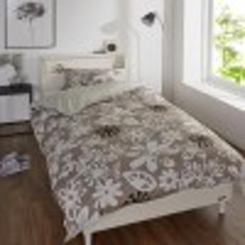 【日本製】フラワー柄の綿100%枕カバー・掛け布団カバー2点セット