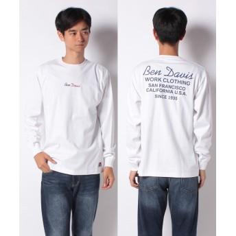 【29%OFF】 マルカワ ベンデイビス ロゴ刺繍 バックプリント 長袖Tシャツ メンズ ホワイト M 【MARUKAWA】 【タイムセール開催中】