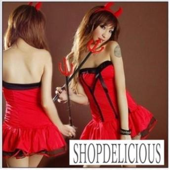 ハロウィン 小悪魔 イベント コスプレ 衣装 デビル ストライプ ドレス 角付き カチューシャ