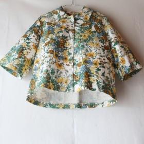 コットン100% ステンカラージャケット(フリー/花柄)