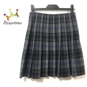 ヨークランド スカート サイズ9AR S レディース 美品 グレー×黒×ブルー チェック柄/プリーツ 新着 20190911
