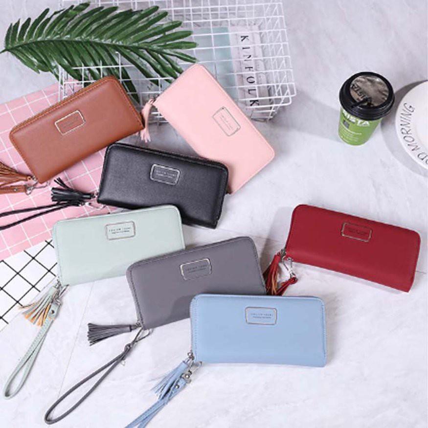 女士錢包時尚學生韓版流蘇拉鍊多功能可放手機中長款皮夾紅色
