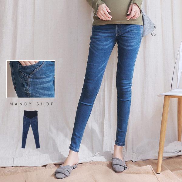 腰可調造型車線窄管牛仔褲