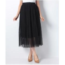 Lilou de chouchou チュール重ねプリーツスカート(ブラック)【返品不可商品】