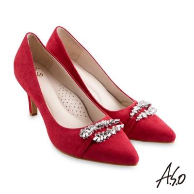 A.S.O 阿瘦 璀璨宴會 健步通勤質感軟羊絨高跟鞋 紅 10027000689-44