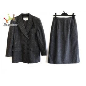 ジュンアシダ JUN ASHIDA スカートスーツ サイズ9 M レディース 美品 ダークグレー×シルバー 新着 20190911