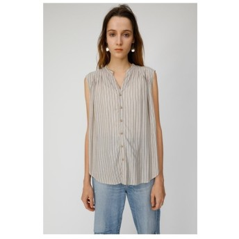 マウジー moussy SLEEVELESS TUCK BLOUSE (柄ブラウン)