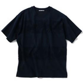 【SHIPS:トップス】SU: リーフ ジャカード パイル ボーダー Tシャツ
