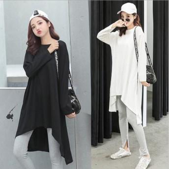 レディース 長袖Tシャツ ブラウス ロングTシャツ 韓国ファッション スリットライン 大サイズ Tシャツワンピース