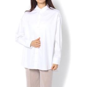 GALLARDAGALANTE(ガリャルダガランテ) レディース コットンサテンオーバーシャツ ホワイト