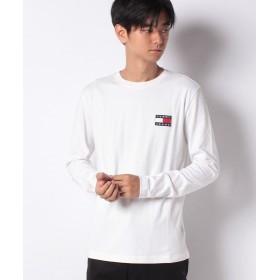 トミーヒルフィガー ロゴパッチロングTシャツ メンズ ホワイト S 【TOMMY HILFIGER】
