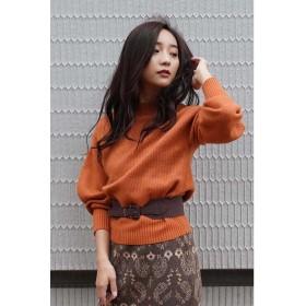 ◆FOX混ボリュームスリーブニット オレンジ