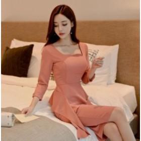 おしゃれ フレア キャバドレス 優雅 ママ  パーティー 体型カバー 韓国風 マキシワンピ 女性 タイトワンピース ワンピ 服 通勤 OL オフィ