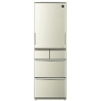 シャープ412L 5ドアノンフロン冷蔵庫プラズマクラスターシャンパンゴールドSJW411EN