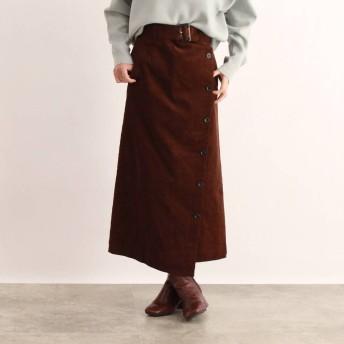 オゾック OZOC [洗える]ベルト付きコーデュロイラップ風スカート (ブラウン)