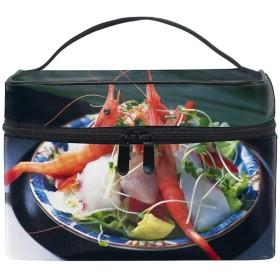 収納ポーチ 通勤 出張 旅行 大容量 エビのサラダおいしい装飾軽量 携帯 便利