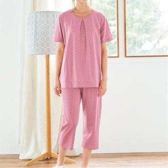 【レディース】 綿100%半袖Tタイプパジャマ(ドット柄) - セシール ■カラー:ピンク ■サイズ:M,L,LL,3L,4L