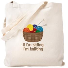 CafePress–場合私は座っている私はニット–ナチュラルキャンバストートバッグ、布ショッピングバッグ S ベージュ 1424106987DECC2