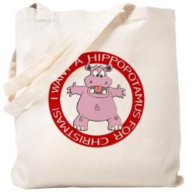 CafePress–Hippo Forクリスマス–ナチュラルキャンバストートバッグ、布ショッピングバッグ S ベージュ 0190801781DECC2