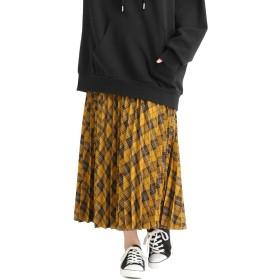 スカート レディース ロング ロングスカート プリーツスカート チェック 秋 冬 秋 Honeys ハニーズ チェックプリーツスカート 573024814258 イエローチェック L