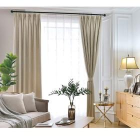 カーテン窓カーテンガーゼベッドルームシェーディング布プリーツブラインドブラックアウトカーテン、リビングルームバルコニー装飾窓 (色 : ベージュ, サイズ さいず : 1W1.5H2.1M)