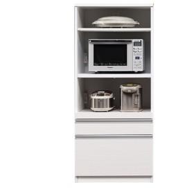 食器棚 レンジ台 70㎝幅 国産 レンジボード ホワイト(柾目柄) 完成品