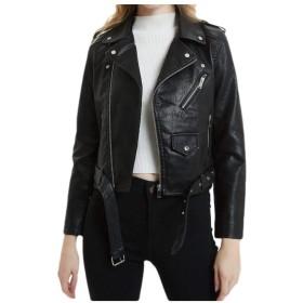 Nicellyer Womens Regular Fit Leather Lapel Belted Cropped Bomber Jacket Coat Black L