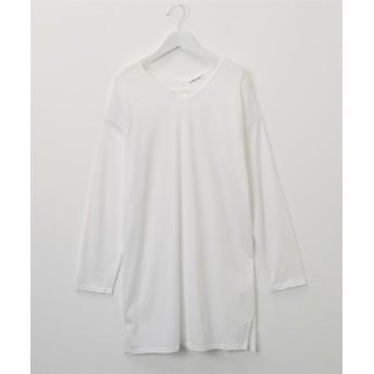 洗濯機OK♪ 両Vネック後ろタックチュニックTシャツ (Tシャツ・カットソー)(レディース)T-shirts