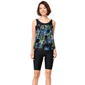 【レディース】 体型カバーゆったりフィットネス水着 - セシール ■カラー:ブラック ■サイズ:9号,11号