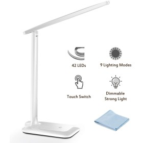 デスクライト、3  3 つの調節可能な明るさモード、省エネおよび目気遣うこと、敏感な接触制御、暖かく/涼しい明るさ、働くことのための携帯用および密集した 42 LED のテーブルランプ [白]